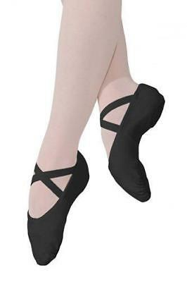 Roch Valley Stretch Black canvas split sole ballet shoe