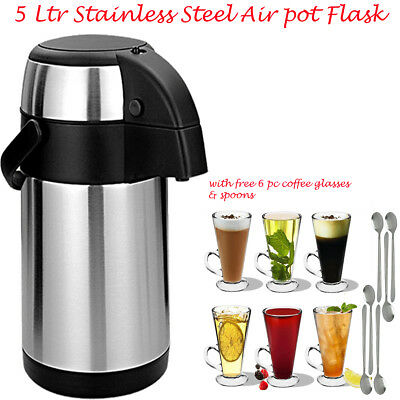 New 5L Stainless Steel Airpot Vaccum Thermos Flask Outdoor Office Hot Cold Tea