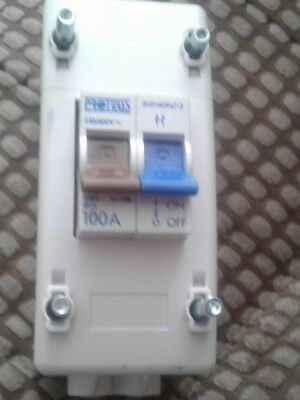 Brand new Proteus 100 amp 2 pole isolator switch