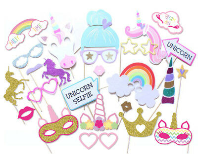 29PCS UNICORN PHOTO Booth Prop Girl Kids Birthday Party Supplies