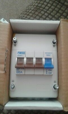Brand new Proteus 100 amp 4 pole electricity meter isolator 3 phase.