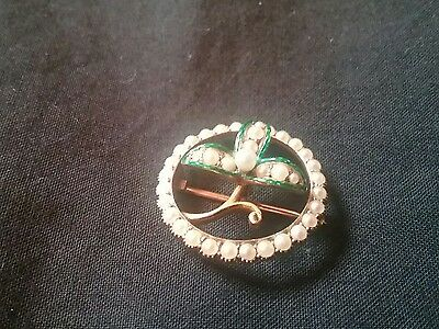 18 Ct Gold Clover With Pearls Brooch And Pendant 4Grams