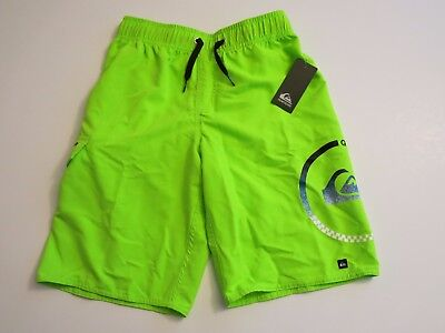 Quiksilver Big Boys M 8 10 Board Swim Trunks Shorts Mesh Lined Neon Lime Green