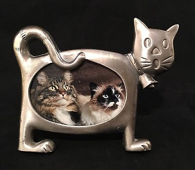 """Metal 4"""" Photo Picture Frame Full Body Cat Fits 2.5 x 1.75  photograph"""