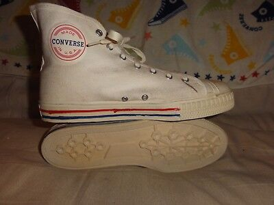 VINTAGE CONVERSE SET SHOT WHITE HIGH TOPS MADE IN USA SIZE 9 MENS 1970s