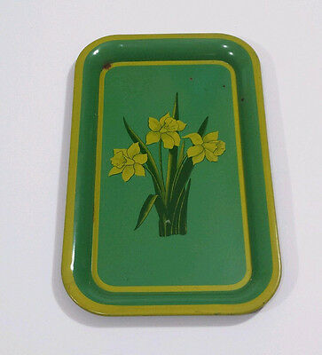 "Vintage Metal Serving Tray Daffodil Flower Green Yellow 60s 70s Decor 14x9"" GVC"