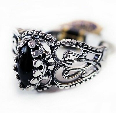 Vintage Genuine Onyx Antiqued Rhodium Filigree Ring Made in USA Edwardian 144