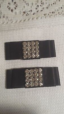 Vintage Shoe Clips Black Ribbon with Clear Rhinestones