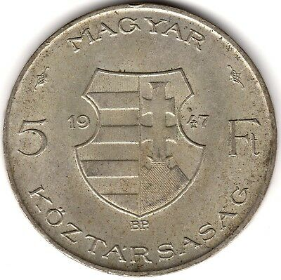 1947 Hungary Silver 5 Forint***Collectors***