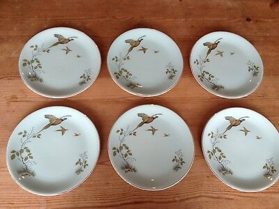 "ALFRED MEAKIN ""Pheasant"" green 19.5cm diameter side plates (6 available)"