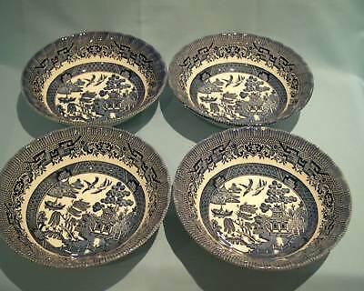 Churchill Willow pattern Cereal / Soup / Dessert Spiral Fluted bowls x 4 -16.5cm