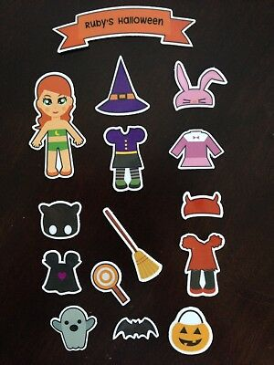 Halloween Paper Doll Set - Magnetic Dress Up Doll Activity