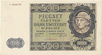 Poland 500 Zlotych Banknote 1940 Serial A 8406182 / Look Scans