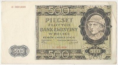 Poland 500 Zlotych Banknote 1940 Serial B 0691828 / Look Scans