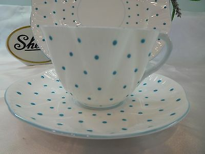 Shelley  Turquoise  Polka Dots   * Trio *  Cup, Saucer, And Plate - Dainty Shape