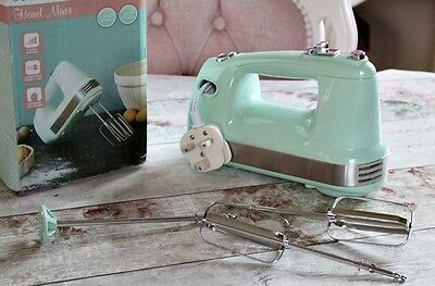NEW Retro Pastel Mint Kitchen Candy Rose Aid Hand Mixer Stainless Steel Vintage