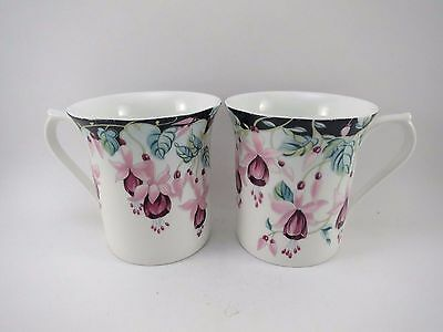 "Set of 2 Queen's Tea Coffee Mugs 3 3/8"" ROYAL HERITAGE VGUC Cups Bone China"