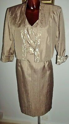 Roman Originals Taupe & gold Mother of the Bride dress & jacket suit size 12 14