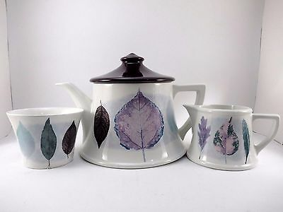 Portmeirion 3 Lot Set Jo Gorman DUSK Teapot Creamer & Sugar Bowl EUC Porcelain