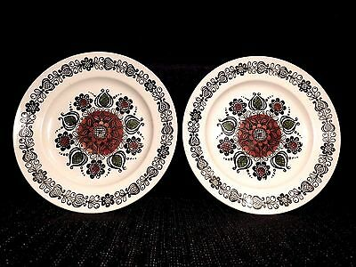 "Set of 2 Broadhurst Ironstone Dinner Plates 9 1/2"" ROMANY Kathie Winkle China"