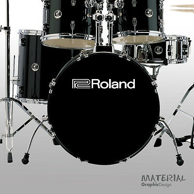 2x Roland Percussion Logo Sticker Decal - Music Systems Audio VDrums Synthesiser