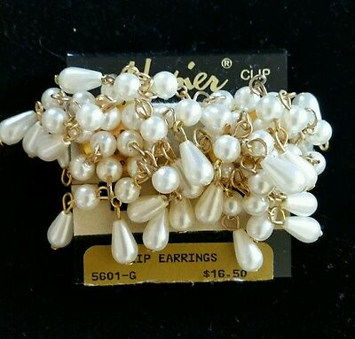 Pearl Lovers! Napier - Nwt Dangly Cluster Pearl Golden Chain Clip Earrings