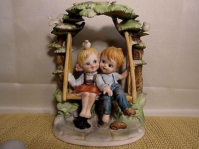 "Boy Girl 8"" Figurine ESD Japan Sweethearts EUC Porcelain Kids on Swing"