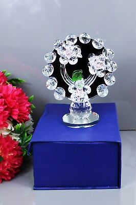Crystal Cut Glass Baby Pink Sunflower For Home Decor X-Mas Gift Box