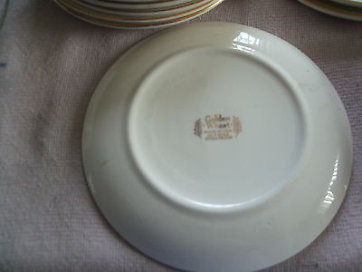 9 pieces of vintage gold wheat dishes - homer laughlin