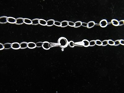 925 Solid Sterling Silver 4mm Flat Link Necklace Shining Chain Real Silver