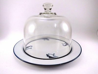 """Dansk Flora Japan Glass BAYBERRY BLUE Domed Cheese Plate 8.75"""" VGUC Porcelain"""