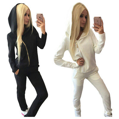 SS Women Casual Long Sleeves Inclined Zipper Hoodies+long Pants Sets Knitting Se