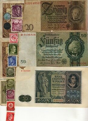 Nazi Germany Banknote, Coin And Stamp Set  * I *