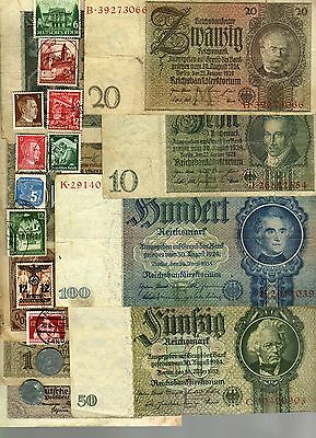 Nazi Germany Banknote, Coin And Stamp Set  # 116