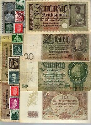 Nazi Germany Banknote, Coin And Stamp Set   # 20