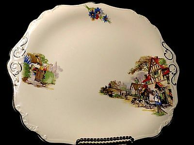 """J G Meakin Dinner Plate 10 3/4"""" THE OLD DAYS EUC Vintage Sol Earthenware China"""