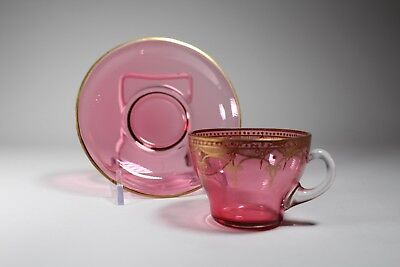 Moser Cranberry Art Glass Cup And Saucer