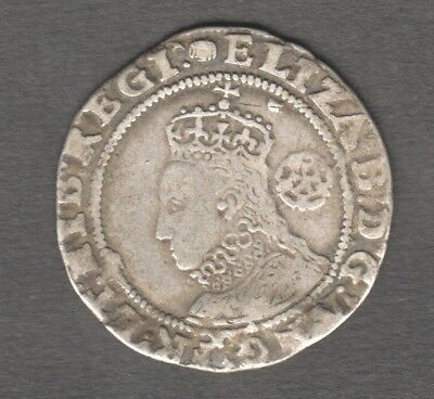 Elizabeth 1St 1592 Hammered Six Pence Silver Good Bust. Auction Starts At £1