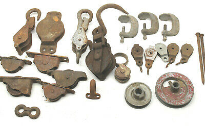 11 lbs Vintage Hooks Pulleys Guides Rollers Hardware Steampunk Industrial Decor