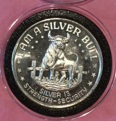 I Am A Silver Bull High Relief 1 Troy Oz .999 Fine Silver Rare Round Coin Medal