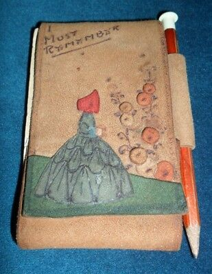 """vintage suede crinoline lady notepad wallet with pencil approx 2"""" by 4.5/8 1930"""