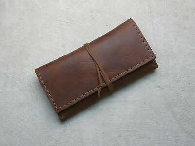 Handcrafted Sauvage Leather Tobacco Pouch (Tobacco Brown) Handmade Rolling Case