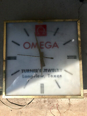 Vintage Omega Watch Jewelry Store Electric  Clock Display Sign Advertisement