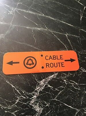 "Vtg Bell System Telephone Cable Route Warning metal Sign Orange 12"" Rare Garage"