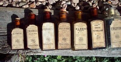 Lot of Seven (7) Pharmacy Bottles, McKesson & Robbins, Labels & Contents
