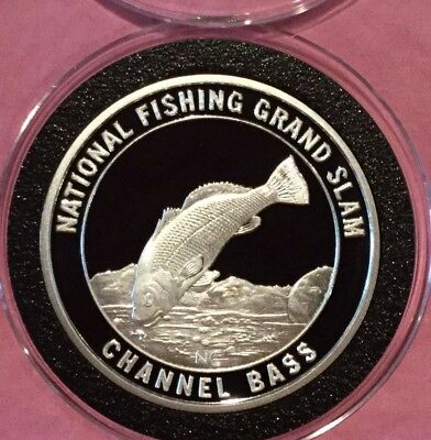 Channel Bass America Fish Club 1 Troy Oz .999 Fine Silver Rare Round Proof Coin