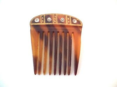 Vintage Faux Tortoise Shell Plastic Gold Painted Rhinestone Comb Small