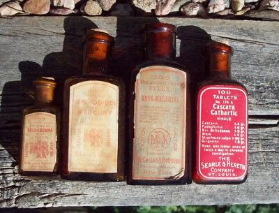 Lot of Four (4) Poison Bottles, McKesson & Robbins, Red Labels & Contents