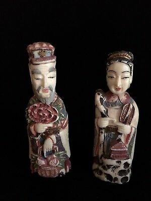 Pair Of Chinese Export Snuff Bottles Of Emperor & Empress Carved Bovine Bone
