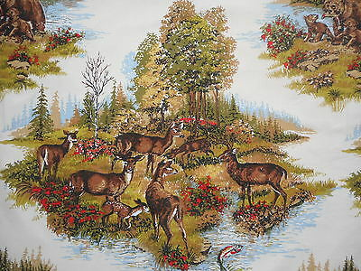Lovely unused vintage cotton interiors fabric - scenic deer, fawn & bears